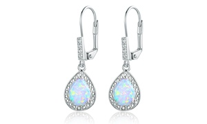 Diamond Accent and Fire Opal Teardrop Earrings By Peermont