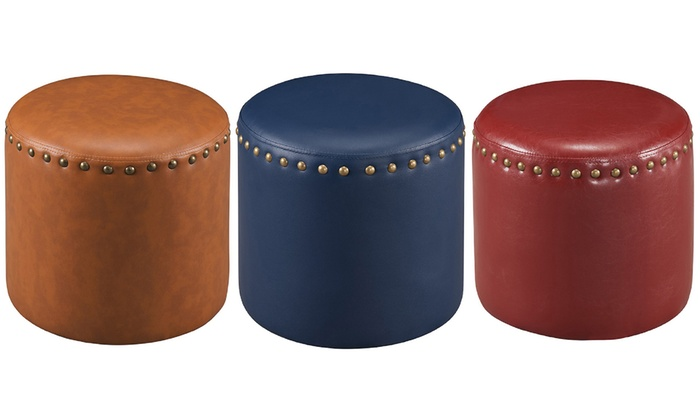 Up To 11 Off On Faux Leather Round Ottoman Groupon Goods