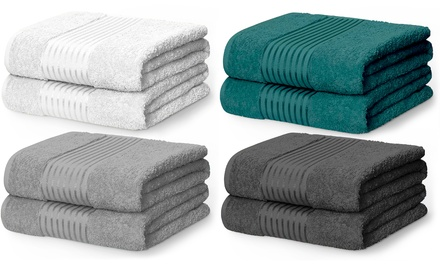 Two Rapport Home 500GSM Egyptian Cotton Windsor Bath Sheet Bales in Choice of Colour