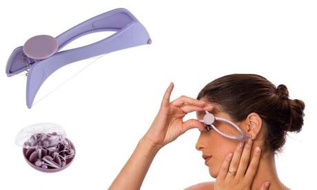 Depilador facial con hilo y sistema de acción por resorte