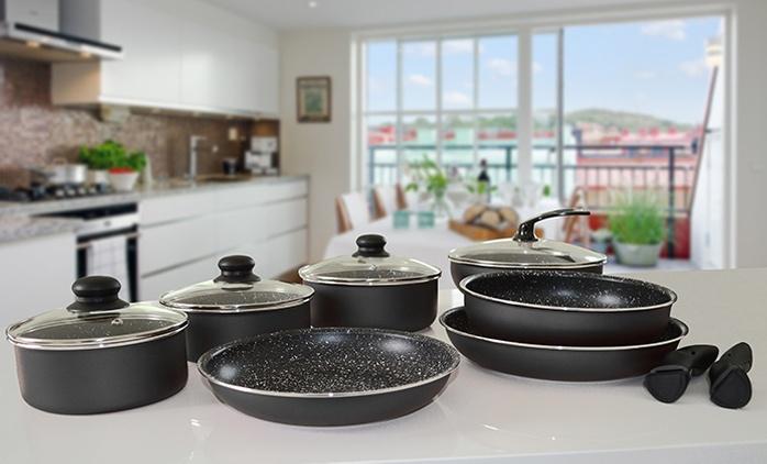 Set de casseroles et poêles amovibles 8 ou 13 pièces Pradel Premium revêtement effet pierre dès 49,90€