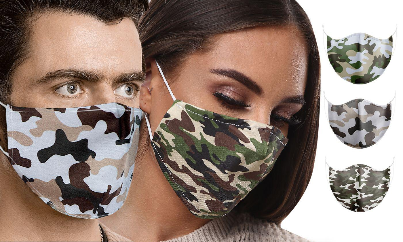 Up to 20 Camouflage Print 100% Cotton Face Masks