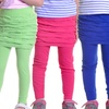 Girls' Seamless Leggings with Attached Ruched Skirt