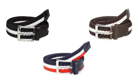 Set di 3 cinture intrecciate bicolore in fibra elastica disponibili in 4 abbinamenti di colore
