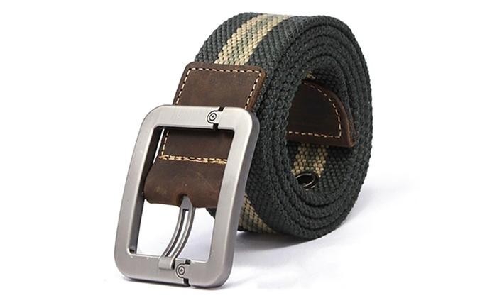 jusqu 39 52 ceinture en toile boucle homme groupon. Black Bedroom Furniture Sets. Home Design Ideas