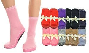 Big Kids Crew Socks with Non-Skid Slipper Bottom (12 Pairs)