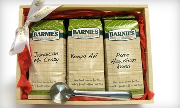 Barnie's Coffee & Tea Company: $45 for Three Pounds of Premium Coffee and Stainless-Steel Scoop from Barnie's Coffee & Tea Company ($102 Value)