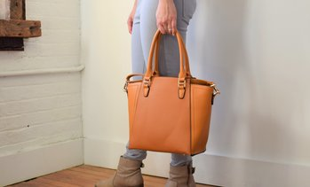 Sorrentino 2-in-1 Leather Tote or Crossbody Purse with Matching Pouch