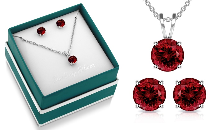 3 00 Ctw Sterling Silver Genuine Garnet Necklace And Earring Set