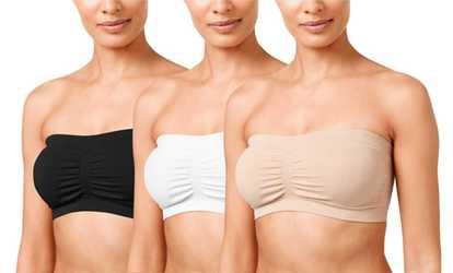 b0ba65b43da Women 3 Pack Basic Color Plus Size Padded Tube Top Bandeau Bras ...