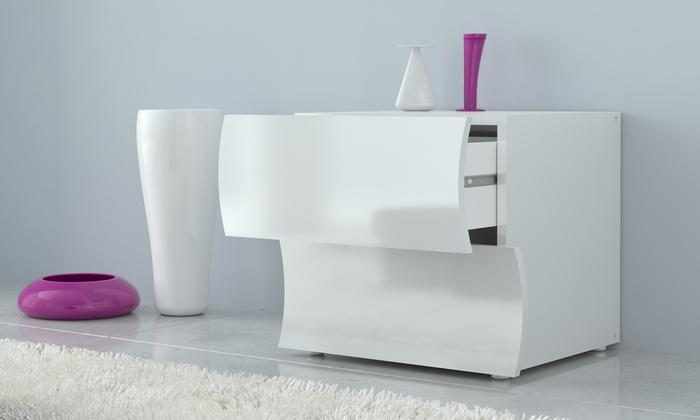 1 ou 2 tables de nuit de design italien en blanc brillant