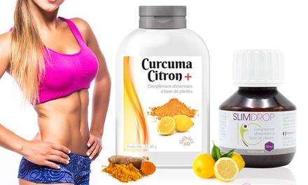 1, 2, 4 ou 6 mois de cure Curcuma cirtron et Slimdrop, pour favoriser la perte de poids