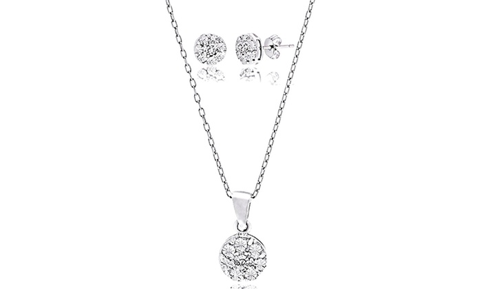 Diamond Accent Stud Earring And Necklace Set