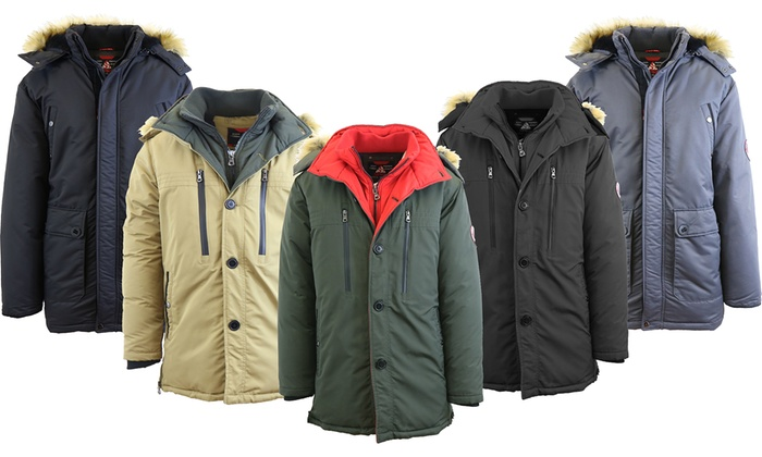 Men's Heavyweight Parka Jacket with Detachable Hood | Groupon