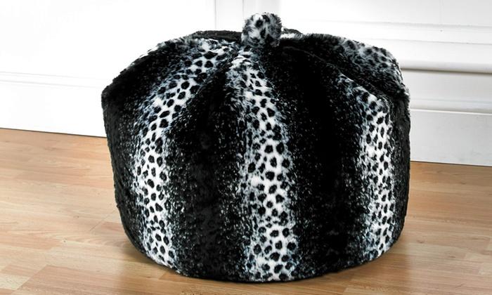 0b6e80028683 Snow Leopard Faux Fur Bean Bag