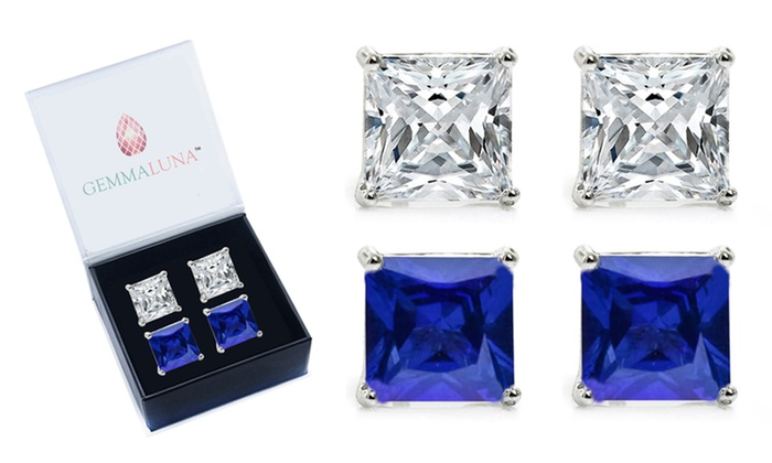 Gemma Luna 4 00 Cttw Shire And White Topaz Stud Earrings 2 Pack