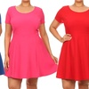 Women's Plus Size Cap-Sleeve Fit-and-Flare Dress