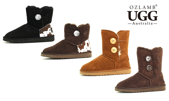 Groupon Goods: $69 for a Pair of Ozlamb Button Ankle UGG Boots in Choice of Colour and Size