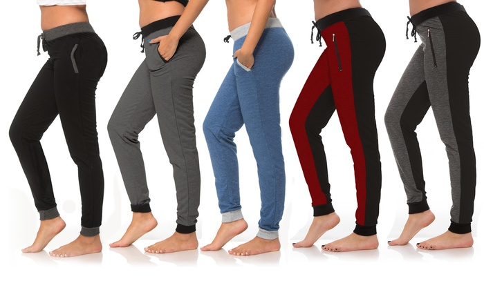 Coco Limon Color Contrast Women's Joggers with Pockets (5-Pack)