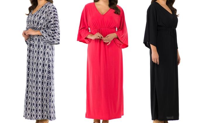 Sociology Plus-Size Kimono-Sleeve Maxi Dress (Size 2X)   Groupon