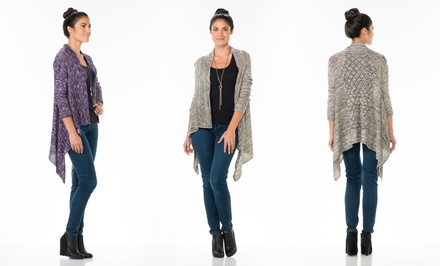 3/4-Sleeve Draped Marl Cardigan from Sociology