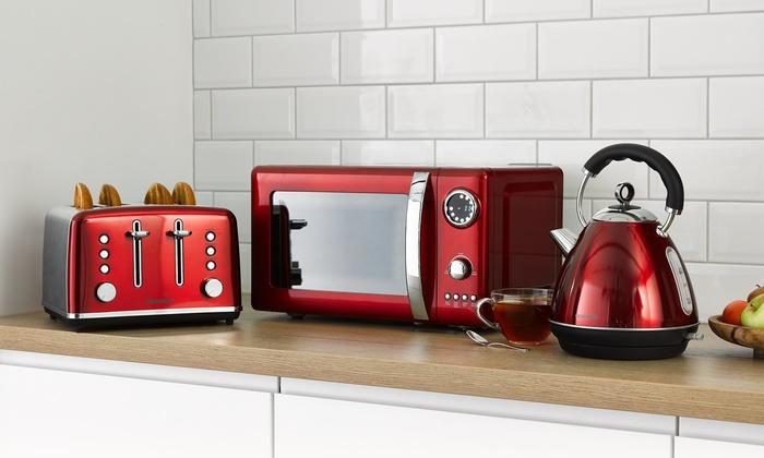 Daewoo Kensington Three-Piece Kitchen Set Featuring Four-Slice Toaster and Pyramid Kettle