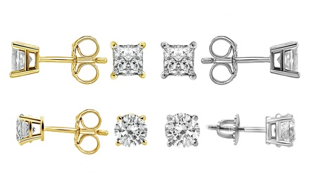 3/4 CTTW Diamond Stud Earrings in 14K Gold by Brilliant Essence Classic Collection