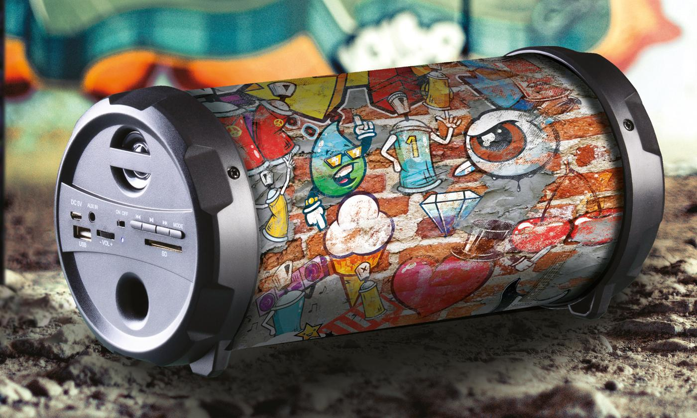 Daewoo Rechargeable Bluetooth Graffiti Tube Speaker