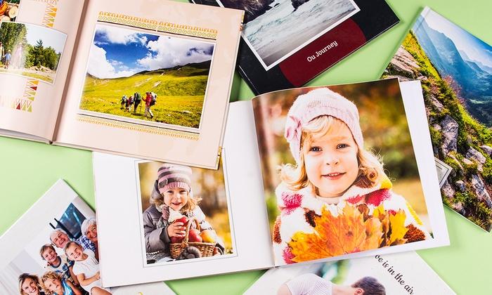 Un album photo avec couverture rigide de vos meilleurs moments en famille en entre amis à partir de 5,99€
