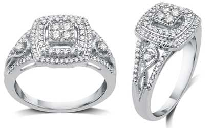 Groupon 1 2 Cttw Diamond Cushion Engagement Ring In Sterling Silver By Decarat
