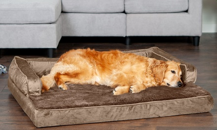 FurHaven Orthopedic Foam, Memory-Foam, or Cooling Gel Velvet Couch Dog Bed