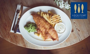 Loch Fyne Seafood & Grill: Fish and Chips for Two or Four with Optional Prosecco at Loch Fyne Seafood & Grill, Multiple Locations (Up to 40% Off)