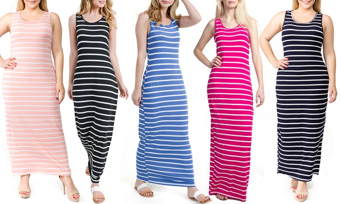 Up To 40% Off on Women\'s Striped Tank Maxi Dress | Groupon Goods