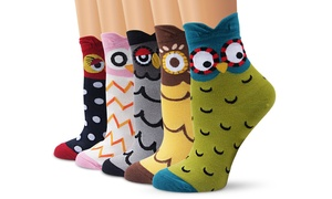 5 chaussettes imprimées Hiboux