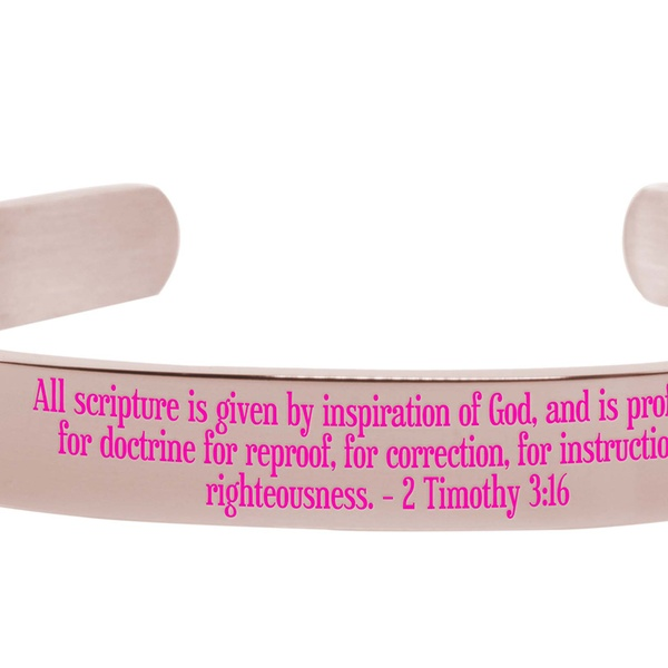 Pink Box 8Mm Solid Stainless Steel Colored Scripture Cuff in Silver Revelation 21:4 Silver