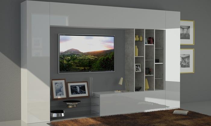 parete soggiorno moderna l 247 cm struttura essenza e frontali .... alpe soggiorno mobile ...