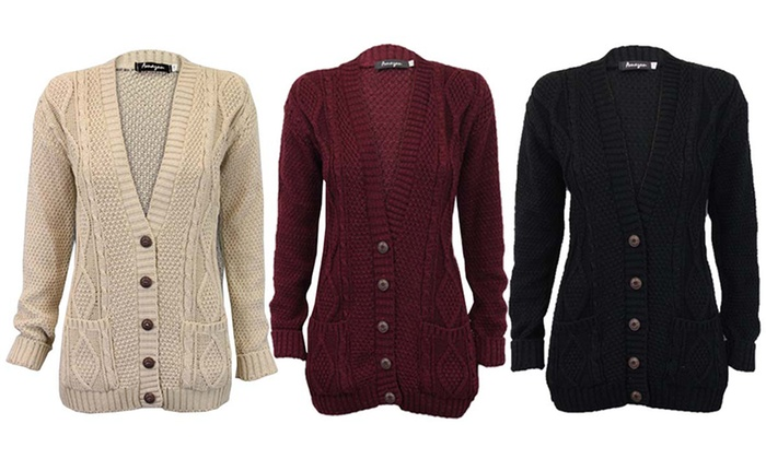 Women's Cable Knit Cardigan in Choice of Colour for £9.98