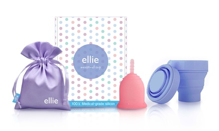 Ellie Ultra Soft Reusable Menstrual Cup Set in a Choice of Size: One $29.95 or Two $49.95 Don't Pay up to $129.90