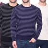 Tocco Reale Men's Cotton Striped Crew Neck Sweater