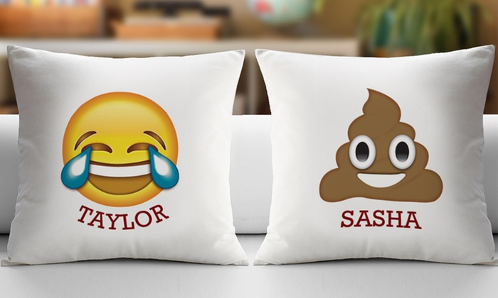 Up To 40% Off On Custom Emoji Cushion Covers Groupon Goods New Customized Pillow Covers
