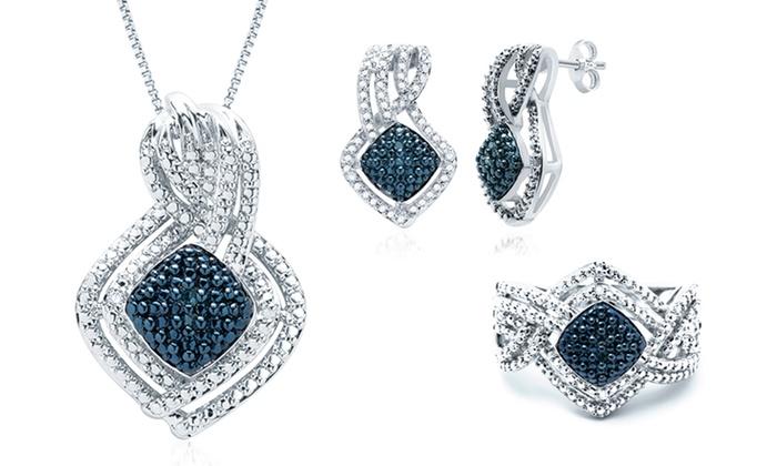 1/10 CTTW Blue-and-White Diamond Jewelry Set: 1/10 CTTW Blue-and-White Diamond Ring, Earrings, and Necklace. Free Returns.