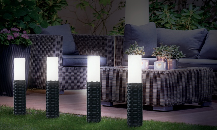 Pack de 4 luces solares con luz led groupon goods for Luces led jardin