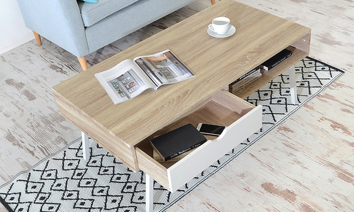Table basse au design scandinave groupon for Groupon table basse