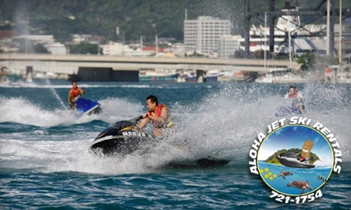 Aloha Jet Ski Rentals - Hickham: 45-Minute Individual or Tandem Jet Ski Rental at Aloha Jet Ski Rentals (Up to $90 Value). Choose from Two Options.