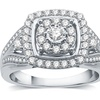 3/4 CTTW Diamond Square Frame Halo Fashion Ring in Sterling Silver