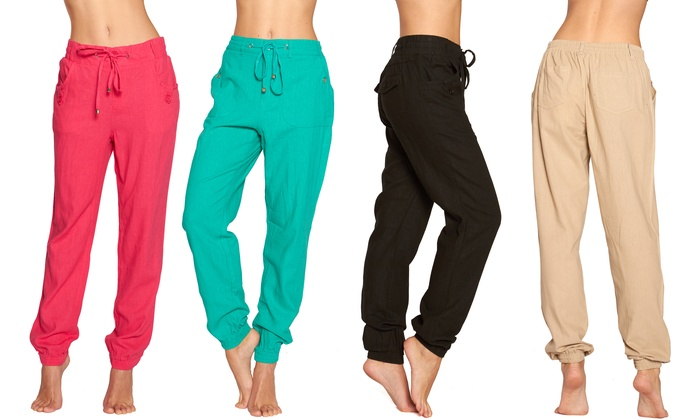 Stylish Linen Ankle Pants | Groupon Goods