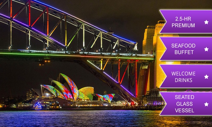 itoursntix - Sydney: $99 for a 2.5hr Premium Glass Vessel Vivid Festival Cruise + Seafood Buffet and Drink with iToursntix (Up to $195 Value)