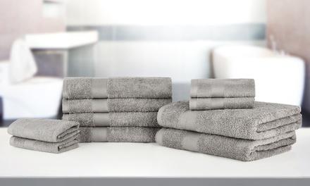 10-teiliges Handtuch-Set Bale aus 100% ägyptischer Baumwolle in Silber