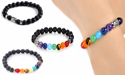 One (£6.98) or Three (£19.99) Natural Stones Bead Bracelets (83% Off)