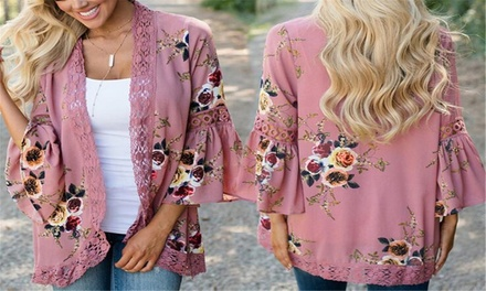 $19 for One or $29 for Two Lace Trim Fluted Sleeve Kimonos